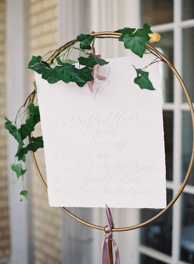 Delighted calligraphy wedding sign