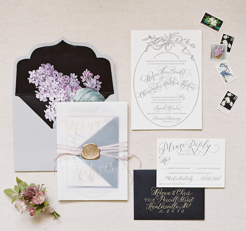 Delighted Calligraphy invitation