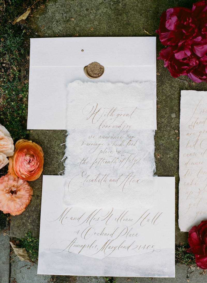 calligraphy elopement invitation