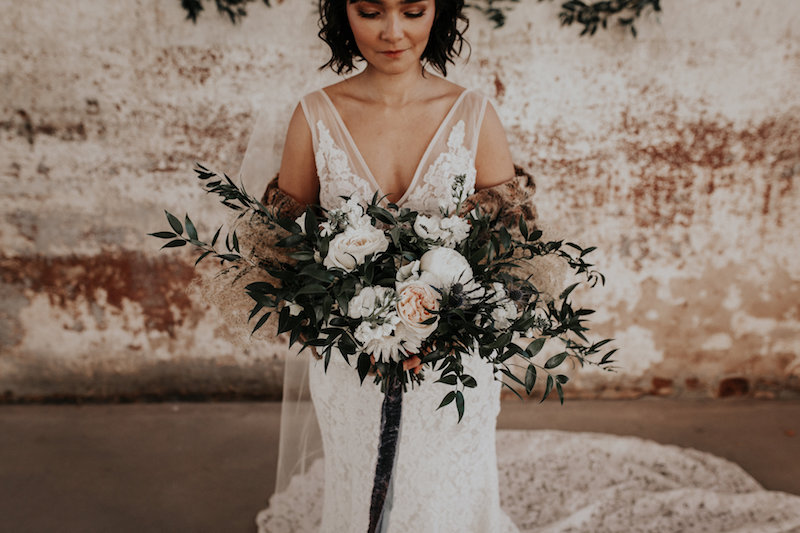 Bride with wild bouquet