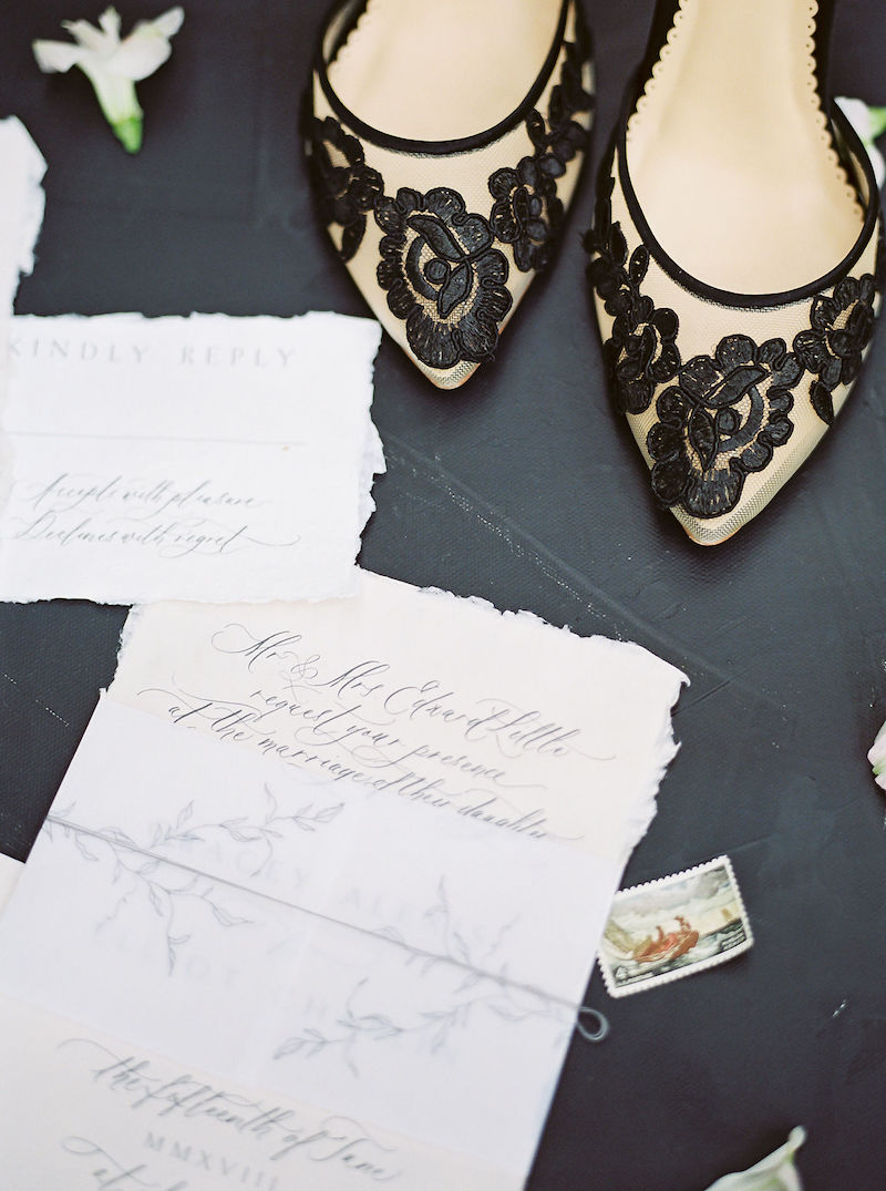 invite and shoes