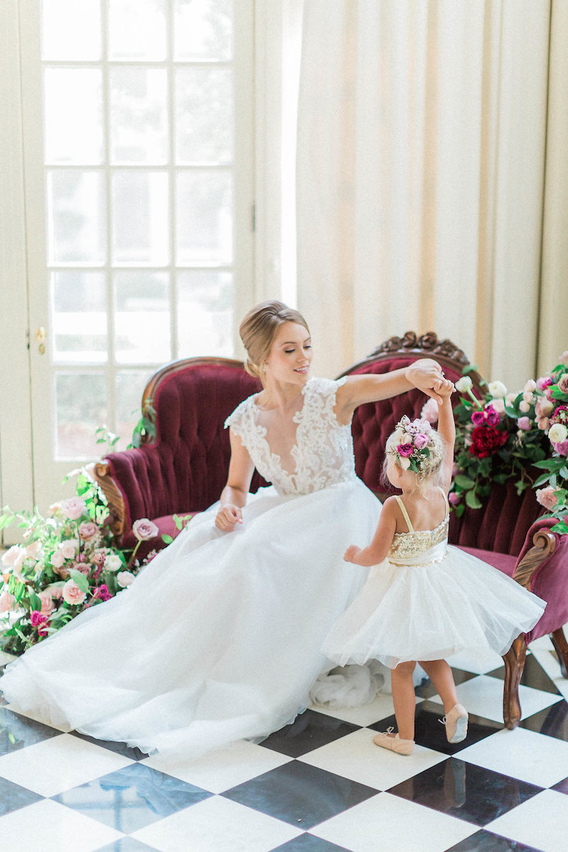 ballerina bride and flower girl